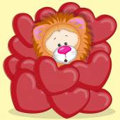 Lion in red hearts — Stock Vector