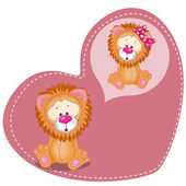 Dreaming Lion in heart — Stock Vector