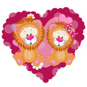Two Lions in heart — 图库矢量图片