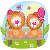 Cute Lovers Lions — Stockvektor