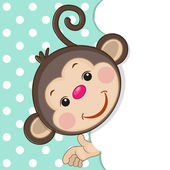 Monkey peeking out — Stock Vector