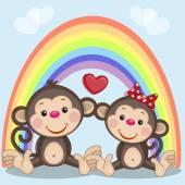 Two Monkeys in love — Stock Vector