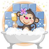 Cute Monkey  in the bathroom — Stock Vector