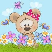 Ratón con flores — Vector de stock