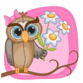 Owl with flowers — Stock Vector