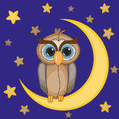 Owl on the moon — Stock Vector