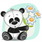 Panda with flowers — Stock Vector