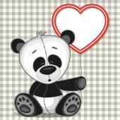 Panda with heart frame — Vecteur