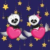 Cute Panda's Lovers — Stockvector
