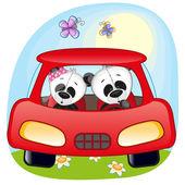 Two Pandas in a car — Stock Vector