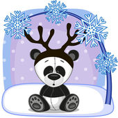 Panda with antlers — Stock Vector