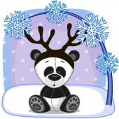 Panda with antlers — Vetor de Stock