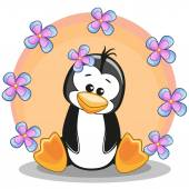 Penguin with flowers — Stock Vector