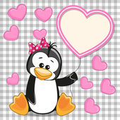 Penguin with heart frame — Stock Vector