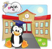 Penguin and school — Stock Vector