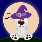 Halloween Polar Bear in hat — Stock Vector #63601845
