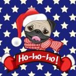 Santa Pug Dog — Stock Vector #63604155