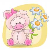 Pig with flowers — Stock Vector