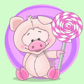 Pig with candy — Vector de stock