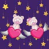 Mignons cochons amoureux — Vecteur