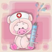 Cute Pig nurse — Vettoriale Stock