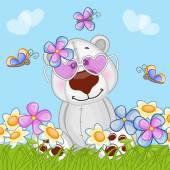 Polar Bear with flowers — Vecteur