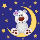 Cute Polar Bear on the moon — Stock Vector