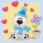 Polar Bear with heart and flower — Stock Vector