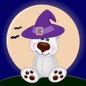 Halloween Polar Bear in hat — Stock Vector