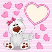 Polar Bear with heart frame — Stock Vector