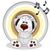 Polar Bear with headphones — Stockvektor