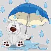 Polar Bear with umbrella — Stock Vector