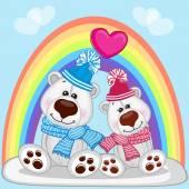 Lovers Polar Bears — Stock Vector