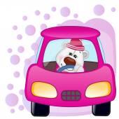 Polar Bear girl in a car — Stock Vector