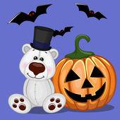 Halloween  Polar Bear with pumpkin — Stock Vector