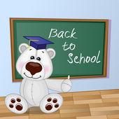 Cartoon Polar Bear wrote in classroom — Stok Vektör