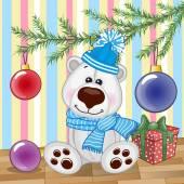 Polar Bear under the tree — Stockvector