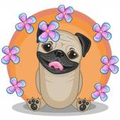 Pug Dog with flowers — 图库矢量图片