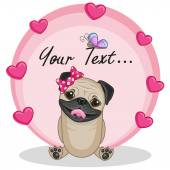 Pug Dog with hearts — Stock Vector