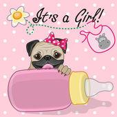 Pug Dog girl — Vector de stock