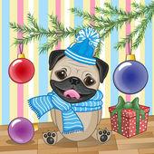 Pug Dog under the tree — Stock Vector