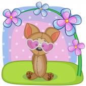 Pes s květinami — Stock vektor