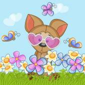 Dog with flowers — Stock Vector