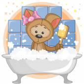 Cute Dog in the bathroom — Stock Vector