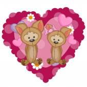 Dva roztomilé psi — Stock vektor