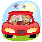 Two Puppys in a car — Stok Vektör