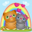 Cute Lovers Cats — Vector de stock  #63653631