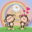 Two cute  Monkeys — Stockvector  #63659055