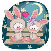 Cute  Lovers Rabbits — Stockvector