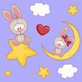 Cute Lovers Rabbits — 图库矢量图片